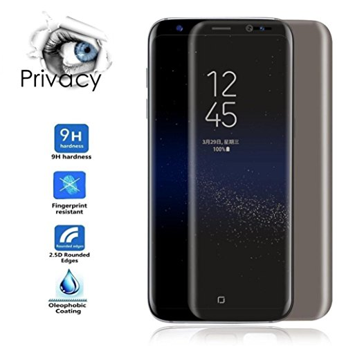 Price comparison product image Tempered Glass Film, HP95(TM) Privacy Full Screen Protector Anti-Spy Tempered Glass For Samsung Galaxy S8/ S8 Plus/ S7 Edge (Samsung Galaxy S8)