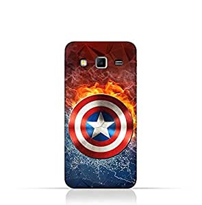 Samsung Galaxy Grand 2 TPU Silicone Protective Case with Shield of Captain America Design