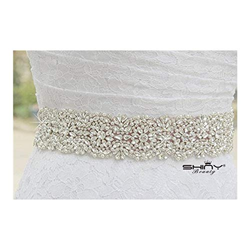 ShiDianYi Wedding Sash Ivory Wedding Belt Bridal Belt Bridesmaid Belt Wedding Sash Bridal Sash Belt Rhinestone Sash Ribbon Sash Bridal Crystal Sash Sparkly Wedding Sash -