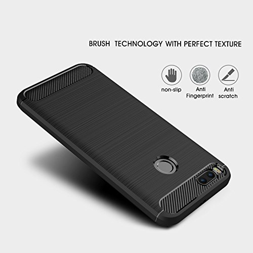 Xiaomi Mi A1 case,with Xiaomi Mi A1 screen protector. MYLB (2 in 1)[Scratch Resistant Anti-fall] fashion Soft TPU Shockproof Case with Xiaomi Mi A1 glass screen protector (Black) by MYLB (Image #1)