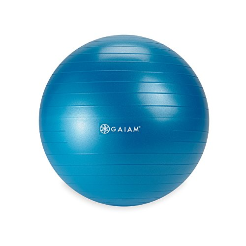Gaiam Kids Balance Ball - Anti-Burst Exercise Stability Ball for Kids with Air Pump, Blue, 45cm