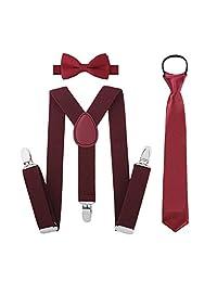 Boys Suspender Bowtie Necktie Sets - Accessories Set For Boys Kids Outfit (Wine Red)