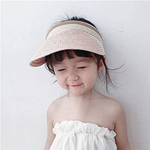 Baby Hat Sun Protection-Waymine Kids Summer Flower Straw Visor Beach Hats for Girls
