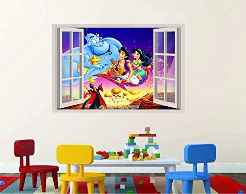 Aladdin Genie magic carpet Jasmine 3D Window View Decal Graphic WALL STICKER Art Mural 18