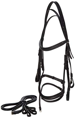 Paris Tack Weymounth Double Dressage Bridles/Flash & Reins, Black, Full -
