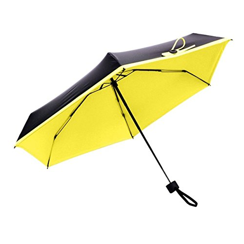 Yanluzz Fashion Folding Umbrella Mini Pocket Umbrella Windproof Uv Protection Lady Sunny Rainy Portable Small Parasol Umbrella Umbrella New Girl Parasol Yellow