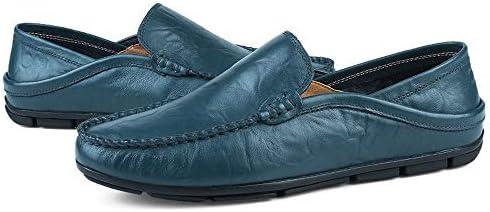新しいファッション男性ローファー男性本革カジュアルシューズ高品質大人のモカシンドレス結婚式カジュアルシューズ滑り止めフラットスリップオンラウンドトウ (Color : Blue perforated, サイズ : 28 CM)