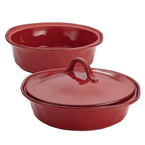 3 Piece Bakers Set (Rachael Ray 3-Piece Cucina Stoneware Round Baker and Lid Set, Cranberry Red)