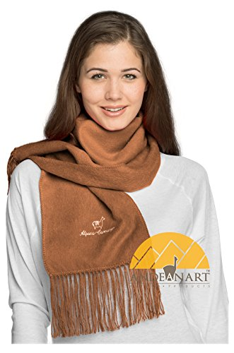 Alpaca Camargo Scarf Camel by AndeanSun - Super soft, luxurious, warm, lightweight scarf - Assorted Natural and Vibrant Colors -