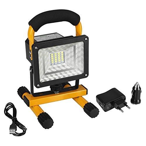 LED-Laterne Outdoor Camping- und Garten Laterne Tragebare LED multifunktionale Lampe mit aufladbare Batterien, USB-Adapter, Auto-Ladegerät, 2-Port-USB-Energien-Bank, wasserdicht [Energieklasse A+] (Gelb)