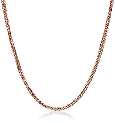 14k Rose Gold .7mm Diamond-Cut Wheat-Chain Necklace from Amazon Collection