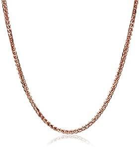 "14k Rose Gold .7mm Diamond-Cut Wheat Chain Necklace, 16"""