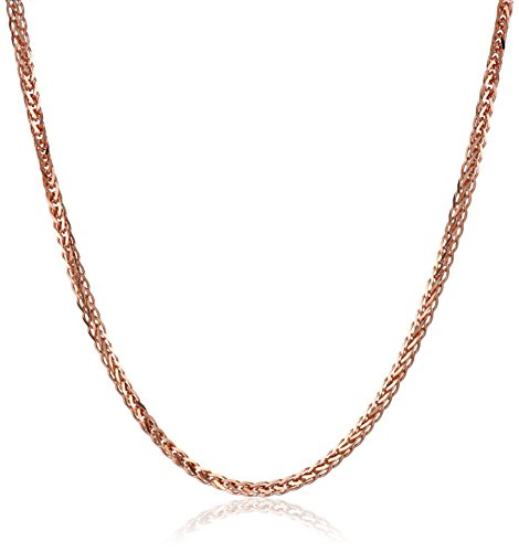 14k Rose Gold .7mm Diamond-Cut Wheat Chain Necklace, 16