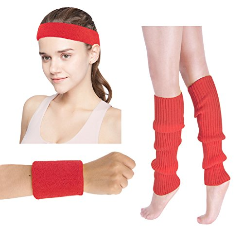 Women's 80s Costumes Accessories Neon Headband Wristband Leg Warmers Set for 1980s Theme Party Supplies(Red)]()
