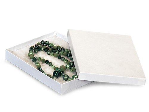 7x5x7/8'' White Swirl Jewelry Box w/ Non-tarnishing Cotton (Unit Pack - 100)