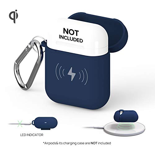 GAZEON Qi Wireless Charging Airpods case | Gaze Airpods Case Cover Protective Case Holder Compatible with AirPods (Midnight Blue)