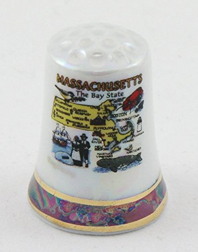 Massachusetts State Map Pearl Souvenir Collectible Thimble agc Souvenir Destiny mamappearlthimble