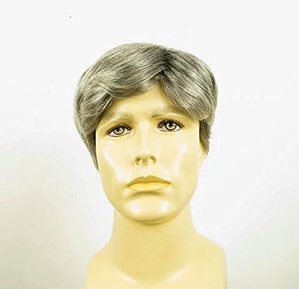 Peluca hombre corto de cabello 100% natural gris mecha blanca WILLY 44