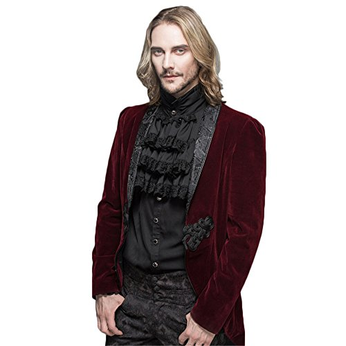 Devil Fashion Men's Dress Jacket Steampunk Gothic Swallow Tail Wedding Coats (XXL, Red) (Steampunk Fashion Male)