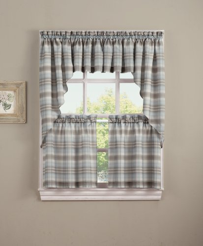 - No. 918 Dawson Plaid Kitchen Curtain Tier Pair, 58