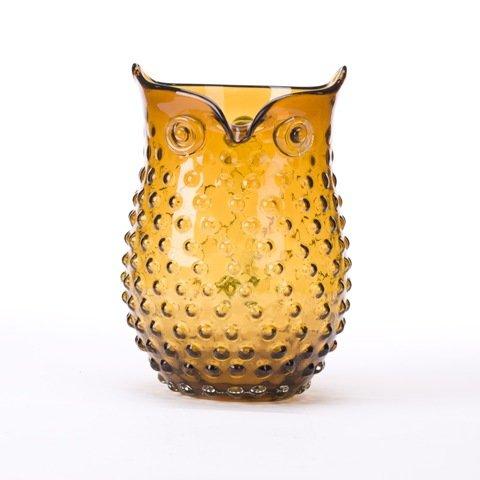 Glitzhome Handblown European Hobnail Owl Glass Vase 9.84 Inch, Amber Amber Hobnail
