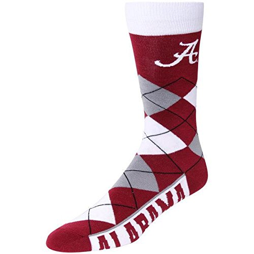 Alabama Crimson Tide Ice - Alabama Crimson Tide Argyle Crew Dress Socks, Team Color, One Size Fits Most