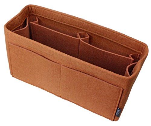 Pelikus Felt Purse & Tote Organizer Insert/Multi-Pocket Handbag Shaper (Large-Slender, Caramel)