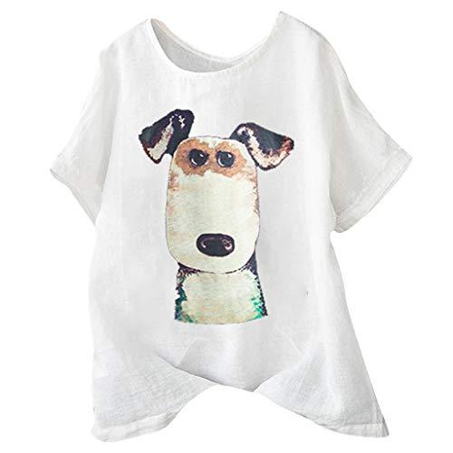 Tantisy ♣↭♣ Women's Plus Size Fun Dog Short Sleeve Print Shirt Summer Comfy Breathable Flax Blouse Ladies Basic Tops White