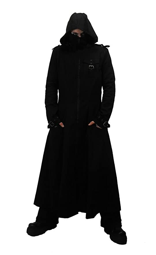 Necessary Evil Marduk Mens Hooded Trenchcoat at Amazon Men's