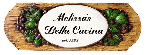 Piazza Pisano Custom Grape Wall Plaque for Wine Bars and Kitchens