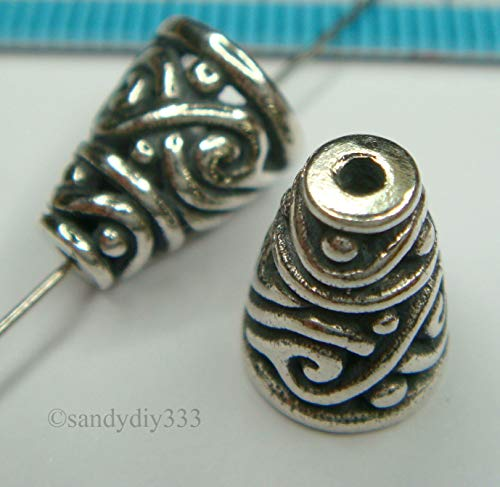 FidgetFidget 2X Bali Sterling Silver Swirl Bead Cone Cap Spacer 10.5mm #1364