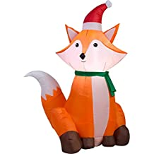 Indoor/Outdoor Self-inflating Christmas Decor Gemmy Airblown Inflatable Fox, 3.5'