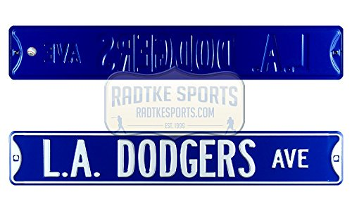 Los Angeles Dodgers Avenue Officially Licensed Authentic Steel 36x6 Blue & White MLB Street (Dodgers Street Sign)