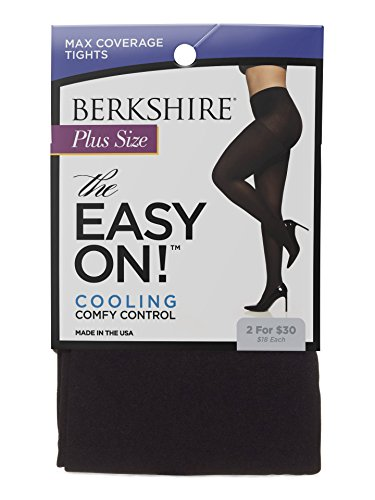 Berkshire Women's Easy On Max Coverage Plus Size Tights, Black, 5X-6X - Microfiber Plus Size Tights