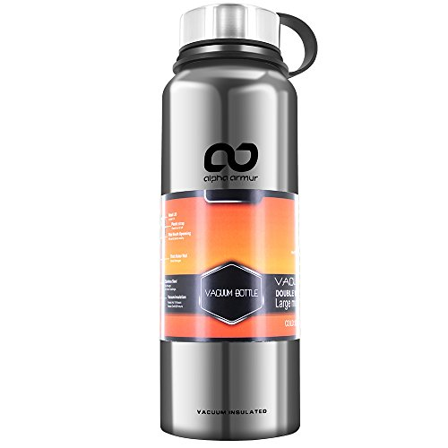 Alpha Armur 36 Oz (1.1L) Double Wall Vacuum 36 oz Water Bottle Fruit Infused Thermal Water Bottle Vacuum Bottle Insulated Stainless Steel Water Bottle with Wide Mouth, Silver