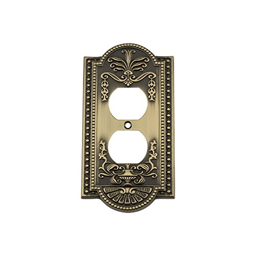 Nostalgic Warehouse 719716 Meadows Switch Plate with Outlet, Antique Brass