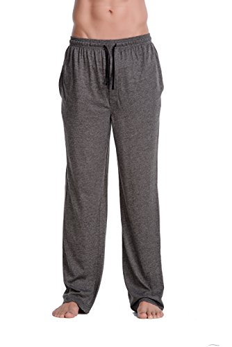CYZ Men's Cotton Jersey Knit Pajama Pants/Lounge Pants-Charcoal-L