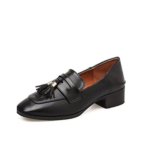 Women's Retro Toe JULY Heel Tassel Casual T Fashion Mid Oxfords Shoes Slip Square Shoes Black On 5naxXdgqdz