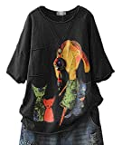 YESNO E78 Women Casual Loose Tee T-Shirts Tops Cartoon Printed Rolled Hem Ripped Short Sleeve Pocket