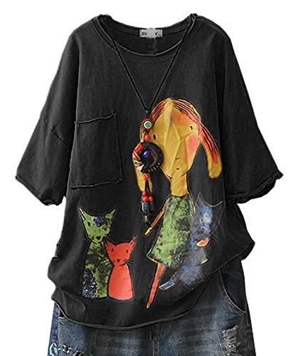YESNO E78 Women Casual Loose Tee T-Shirts Tops Cartoon Printed Rolled Hem Ripped Short Sleeve Pocket (S, Black)