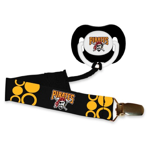 (Pittsburgh Pirates Black Pacifier and Pacifier Clip - MLB Baby Fanatic Combo Set)
