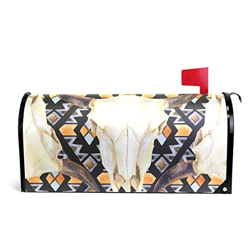 senya Magnetic Large Size Mailbox Cover Ethnic Pattern with Cow Skull, Oversized ()