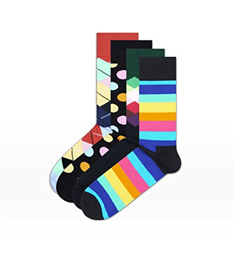 Happy Socks Gift Box (4 Pack) (EU 41-46 (US 8-12), Bright Stripe Box)
