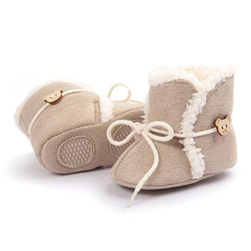 Saingace® bottes de neige bébé à semelle souple berceau doux chaussures tout-petit démarrage,0-18mois (11cm)