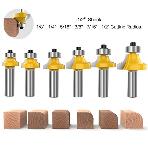 1/2 Inch Shank Round-Over Router Bits Corner Rounding Edge-forming Roundover Beading Router Bit Set - 1/8
