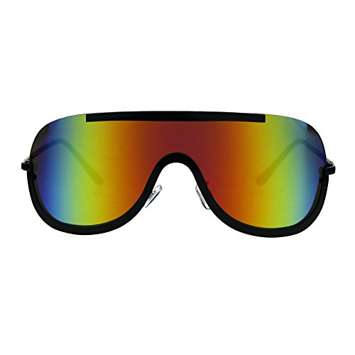 Color Mirror Robotic Shield Futurism Oversize Sunglasses Black - Rainbow Sunglasses Reflective