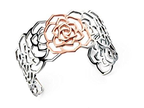 Poinçonné argent Sterling Rhodium plaqué or Rose et détail ouverts Bracelet Rose