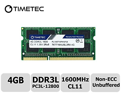 Timetec Hynix IC 4GB DDR3L 1600MHz PC3L-12800 Unbuffered Non-ECC 1.35V CL11 2Rx8 Dual Rank 204 Pin SODIMM Laptop Notebook Computer Memory Ram Upgrade (Dual Rank 4GB)