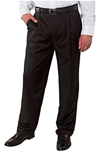 Mens Wool Gabardine Pants (Kirkland Mens Pleated Italian Wool Dress Slacks - Black (36x30))