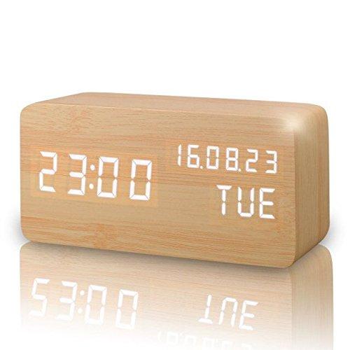 Réveil numérique, horloge d'activation sonore avec affichage température / date / heure, capteur sonore pour activation Port USB pour maison et bureau (Yellow)